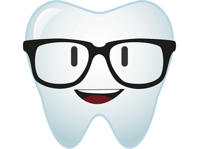 Illustration of a cute tooth  avatar wearing glasses